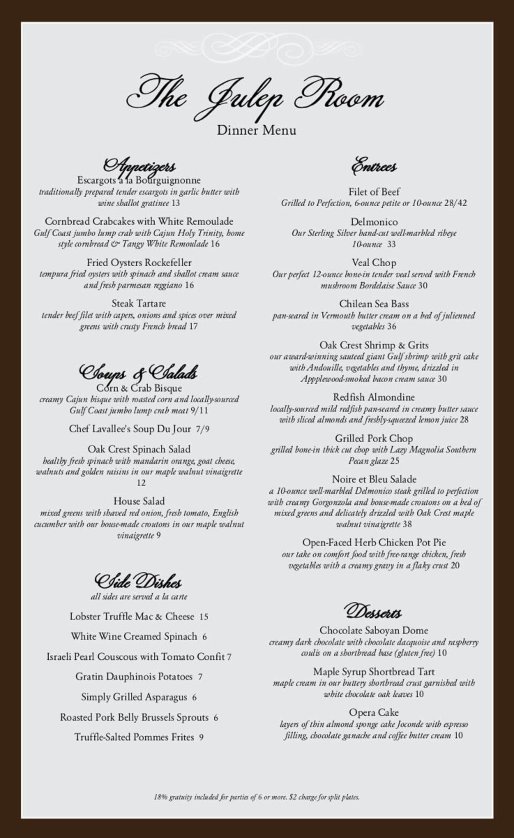 The Oak Room Restaurant Menu