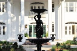 Close up view of the water fountain in front of the Oak Crest Mansion