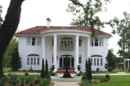 Direct front view of the Oak Crest Mansion